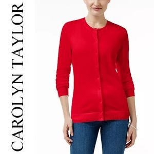 Carolyn Taylor red cardigan button-down medium top